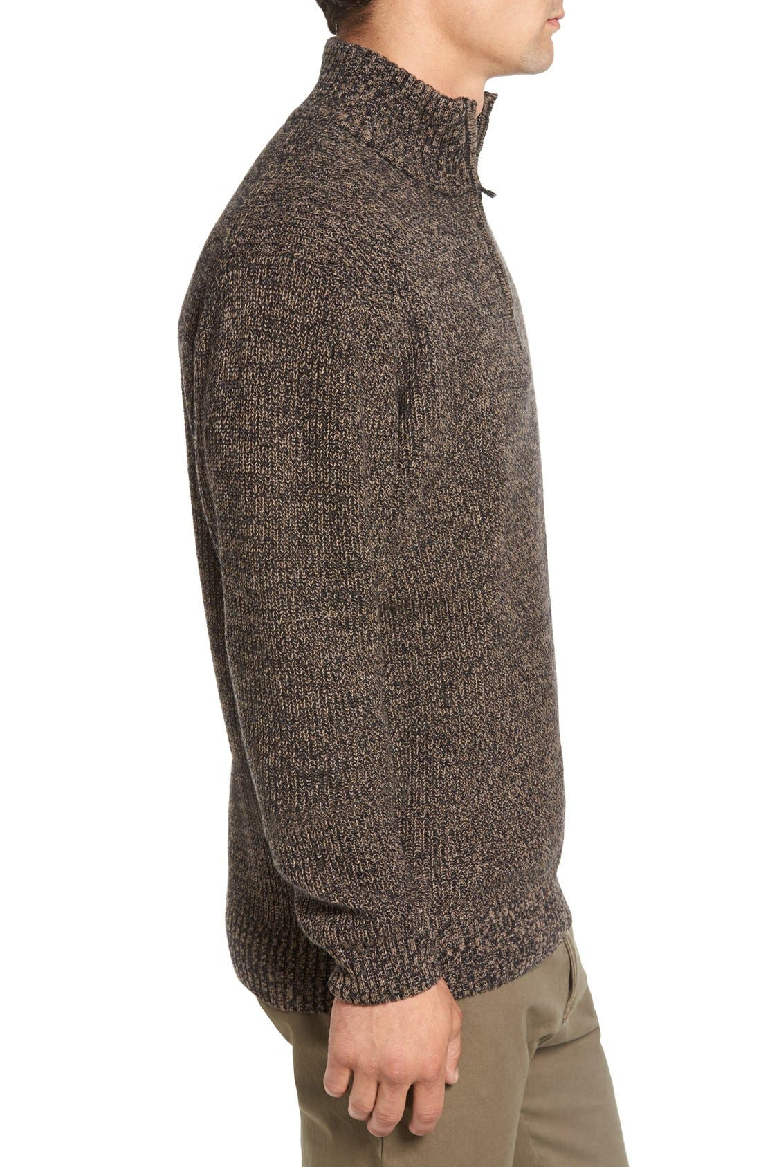 'Woodglen' Herringbone Knit Lambswool Quarter Zip Sweater,                             Alternate thumbnail 3, color,                             Walnut