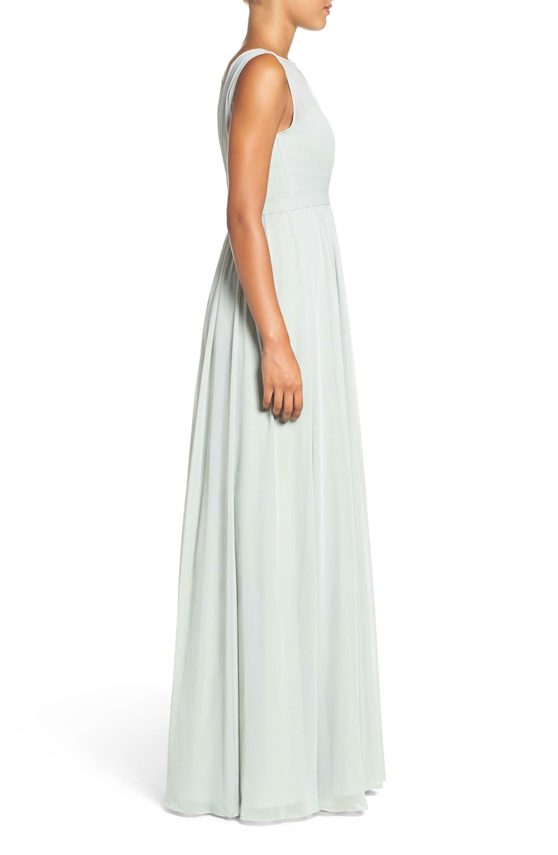 Vivienne Pleated Chiffon Gown,                             Alternate thumbnail 3, color,                             Morning Mist