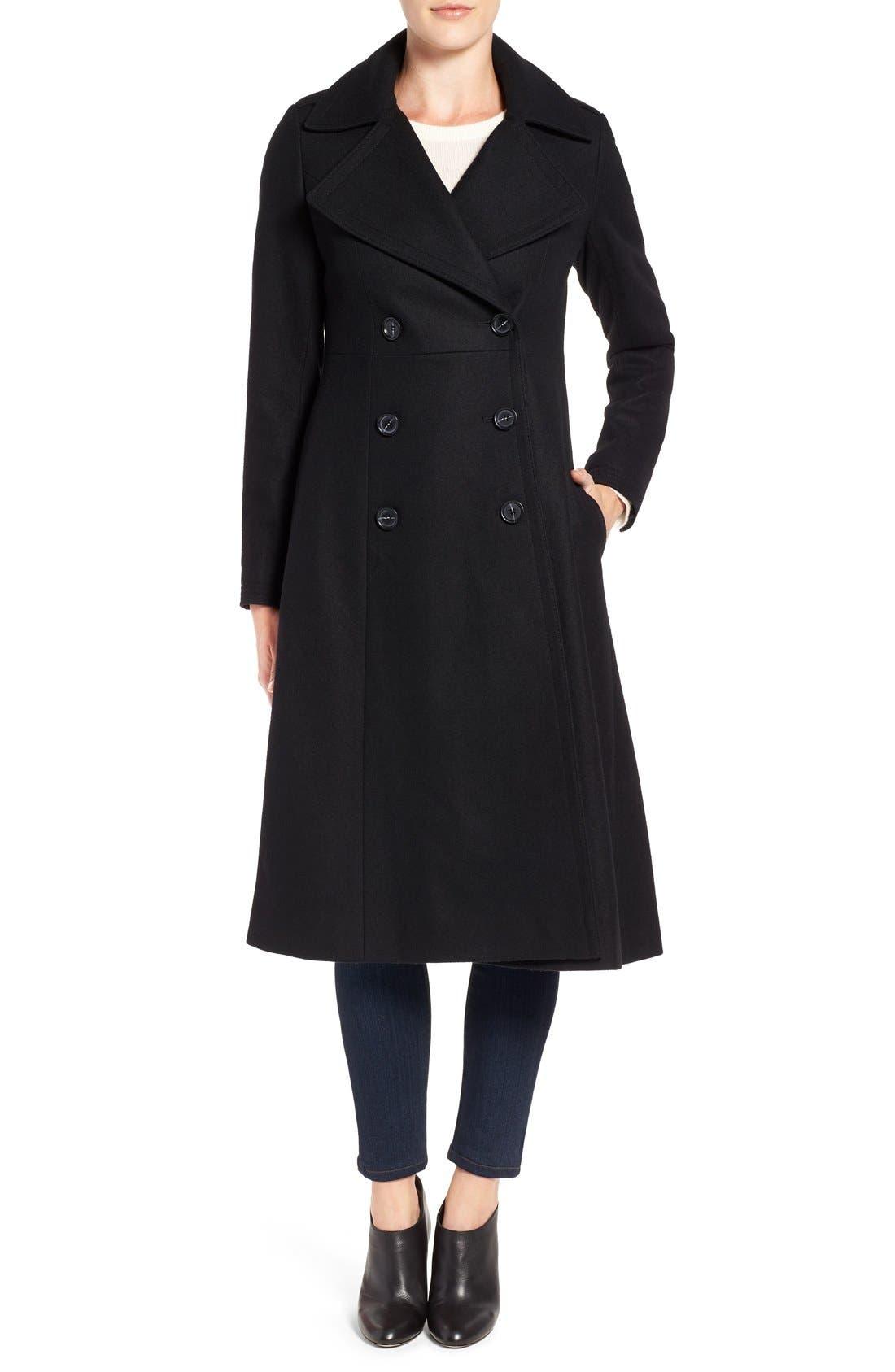 Long Wool Blend Coat,                         Main,                         color, Black