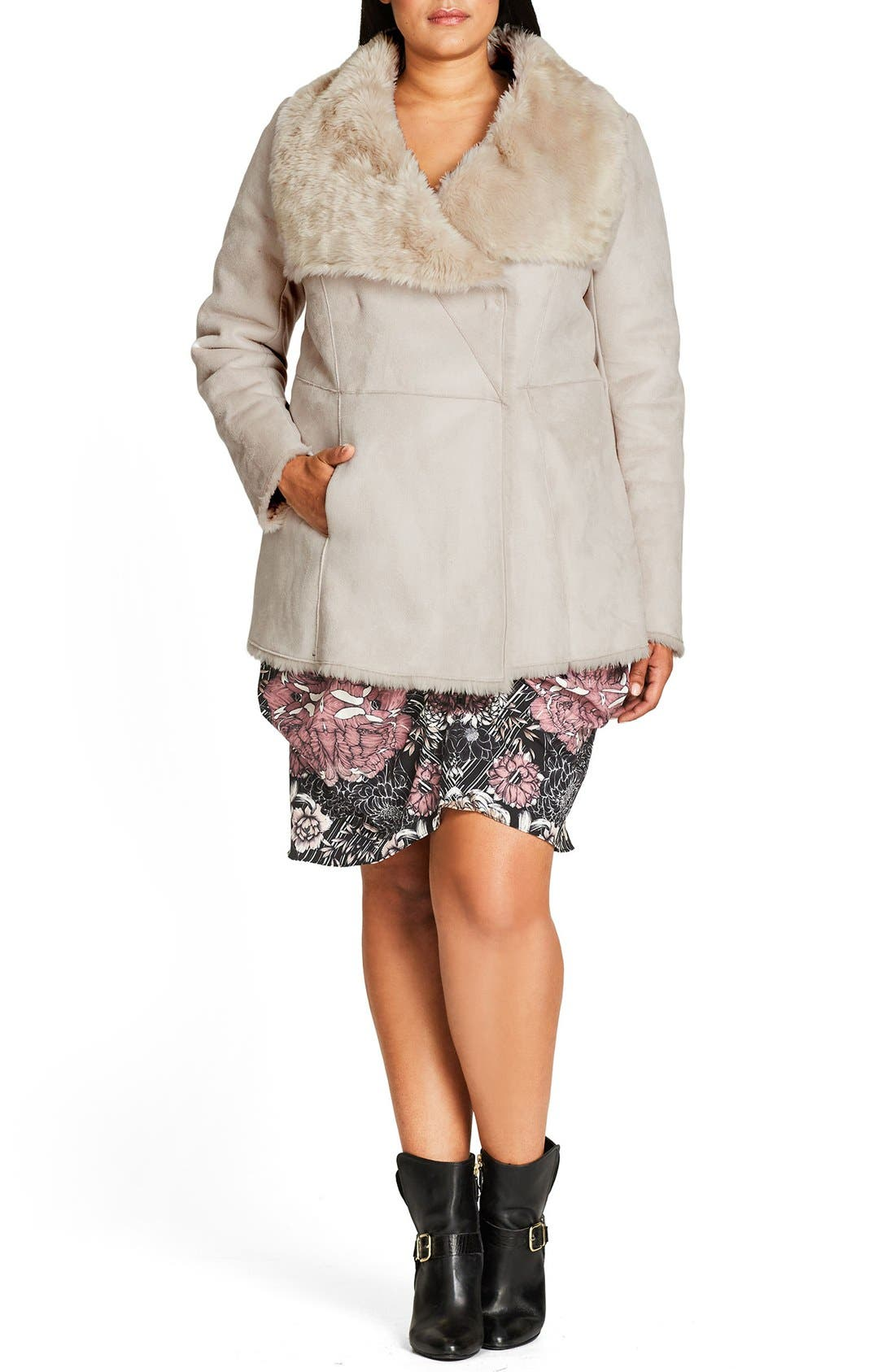 Alternate Image 1 Selected - City Chic Faux Shearling Coat (Plus Size)