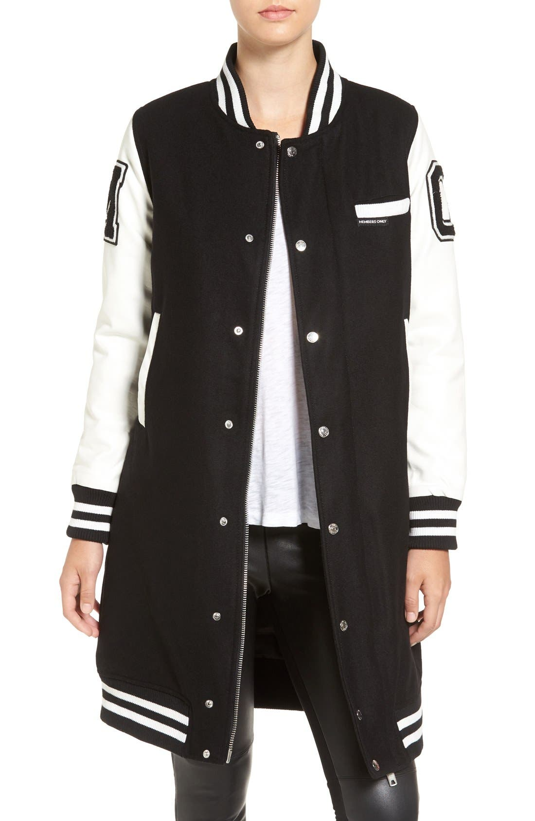 Alternate Image 1 Selected - Members Only Long Varsity Bomber Jacket