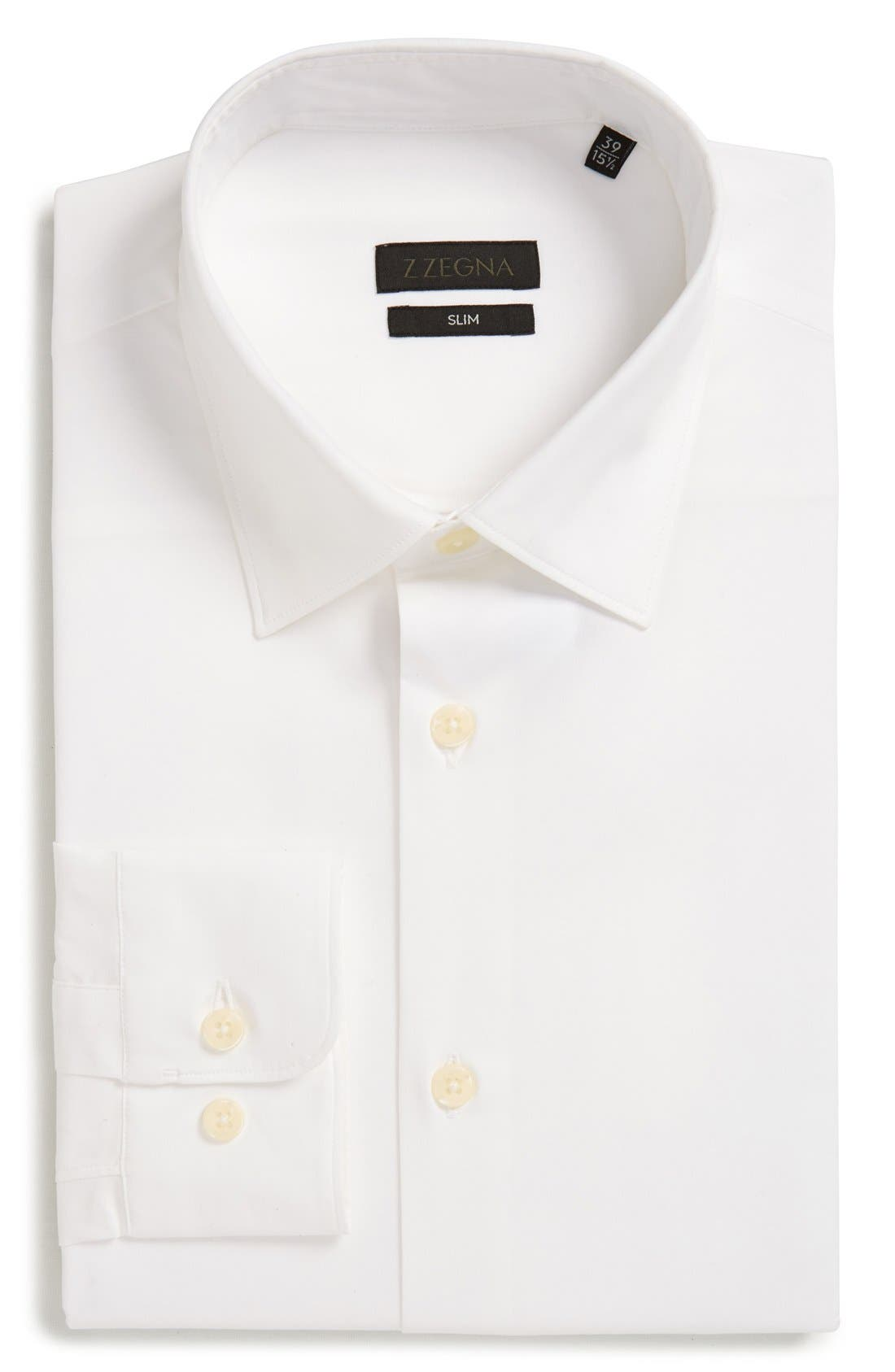 Alternate Image 1 Selected - Z Zegna Slim Fit Solid Stretch Dress Shirt
