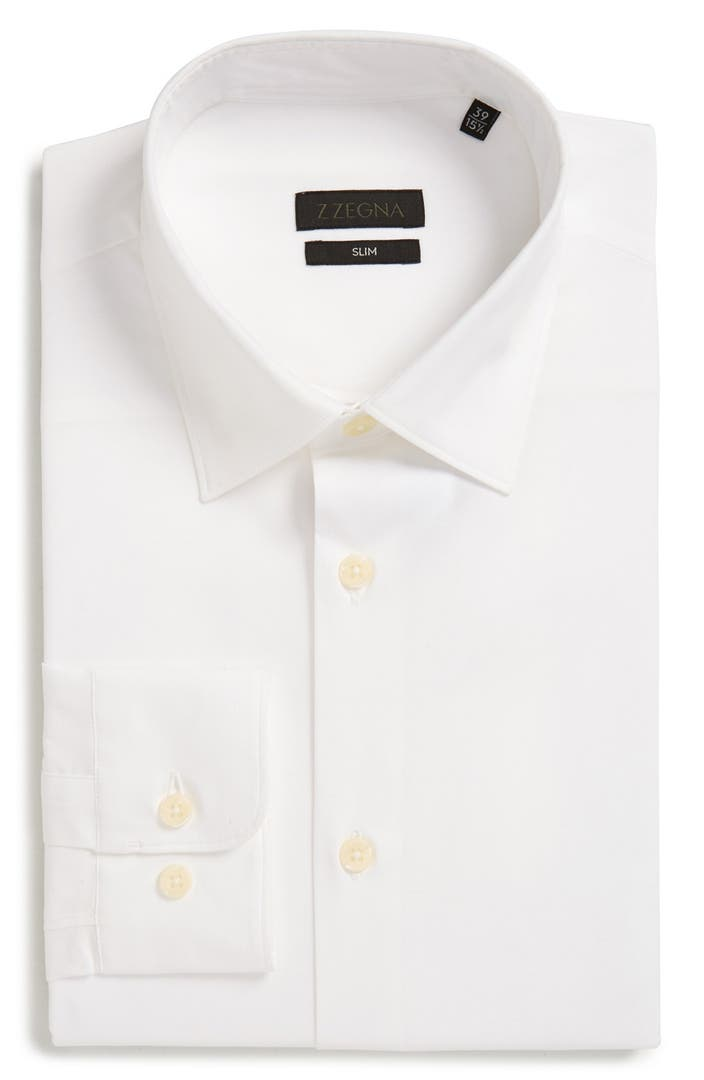 Z zegna slim fit solid stretch dress shirt nordstrom for How to stretch a dress shirt