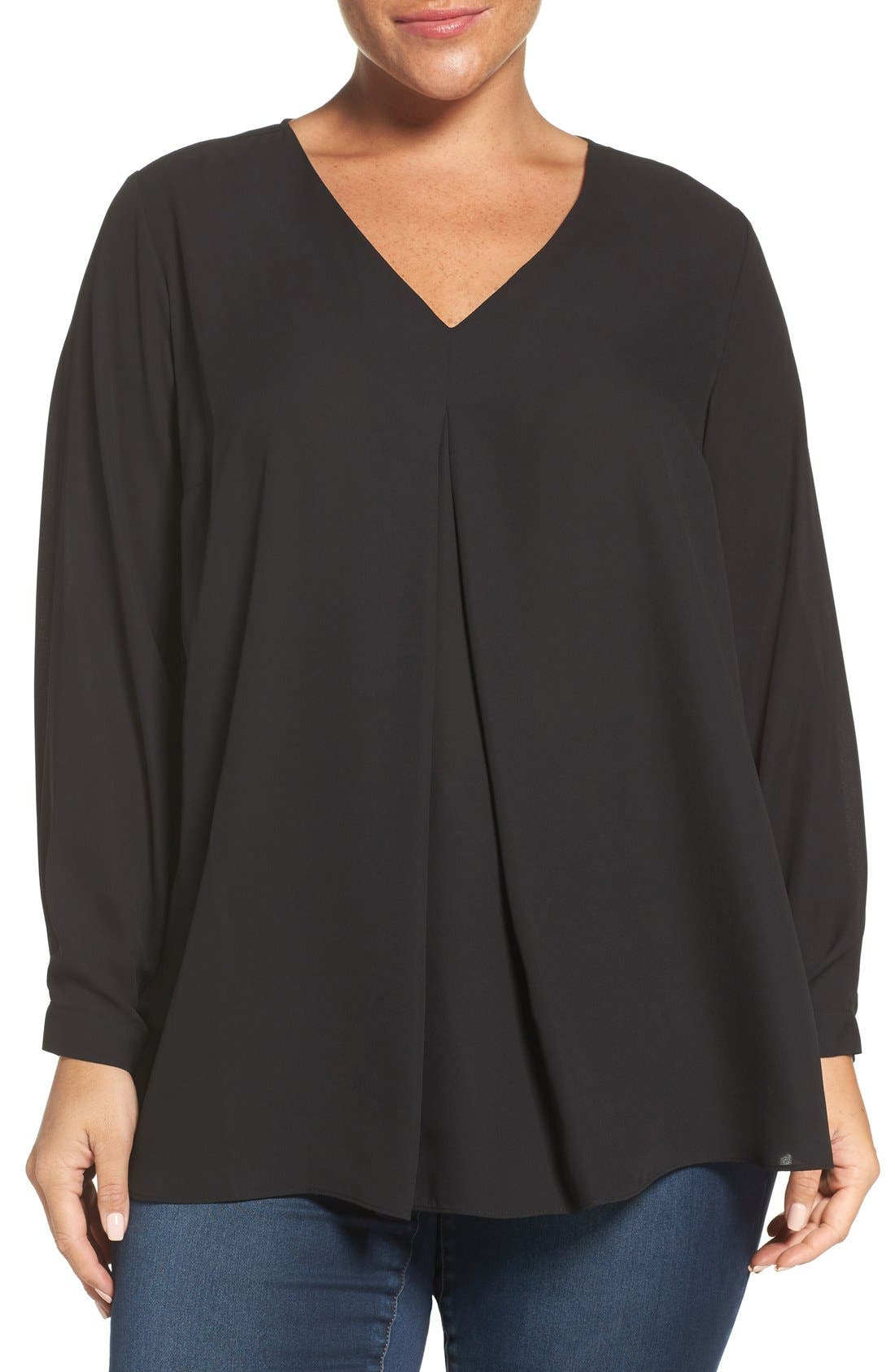Pleat Front V-Neck Blouse,                             Main thumbnail 1, color,                             Rich Black