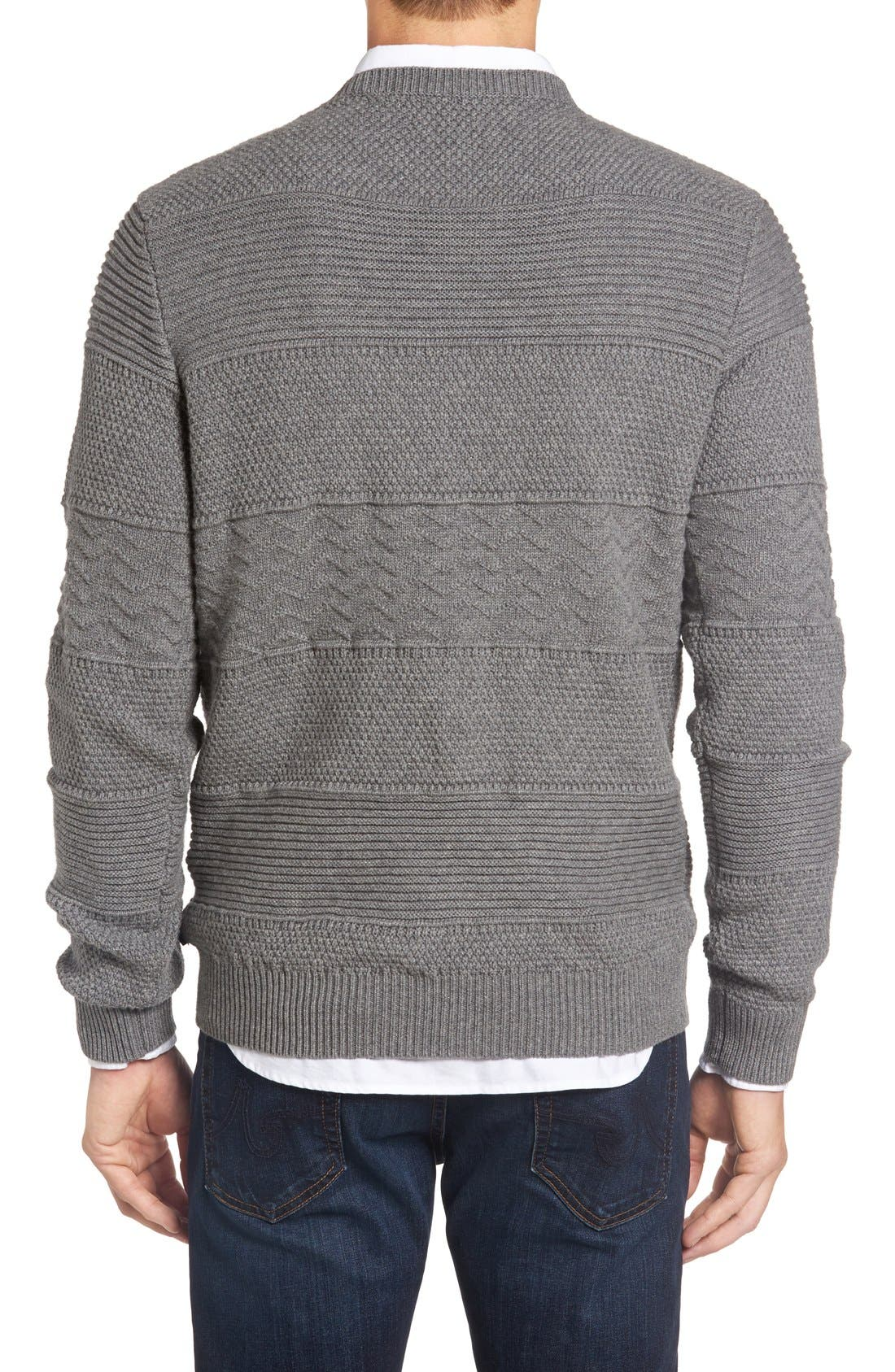 Structure Crewneck Sweater,                             Alternate thumbnail 2, color,                             Grey Melange
