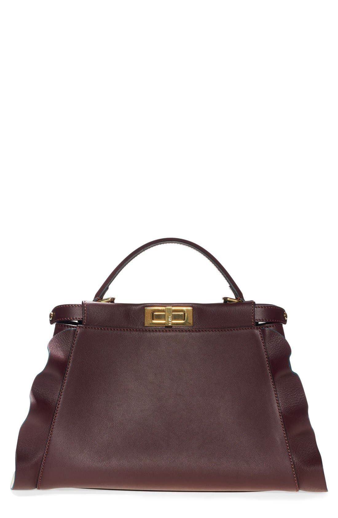 'Medium Peekaboo - Wave' Leather Bag,                         Main,                         color, Bordeaux/ Milk/ Soft Gold