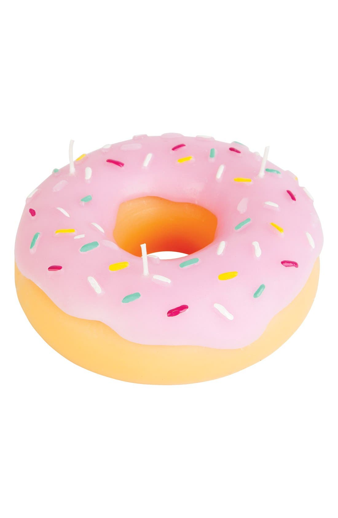 Donut Candle,                             Main thumbnail 1, color,                             Pink