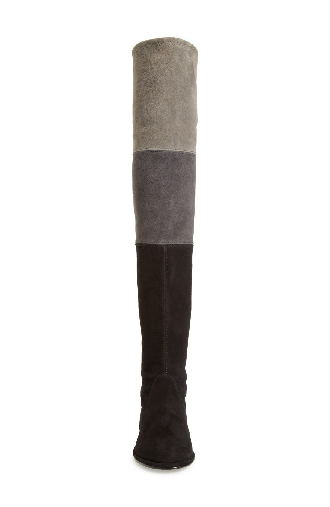 'Trio' Over the Knee Boot,                             Alternate thumbnail 3, color,                             Black Suede