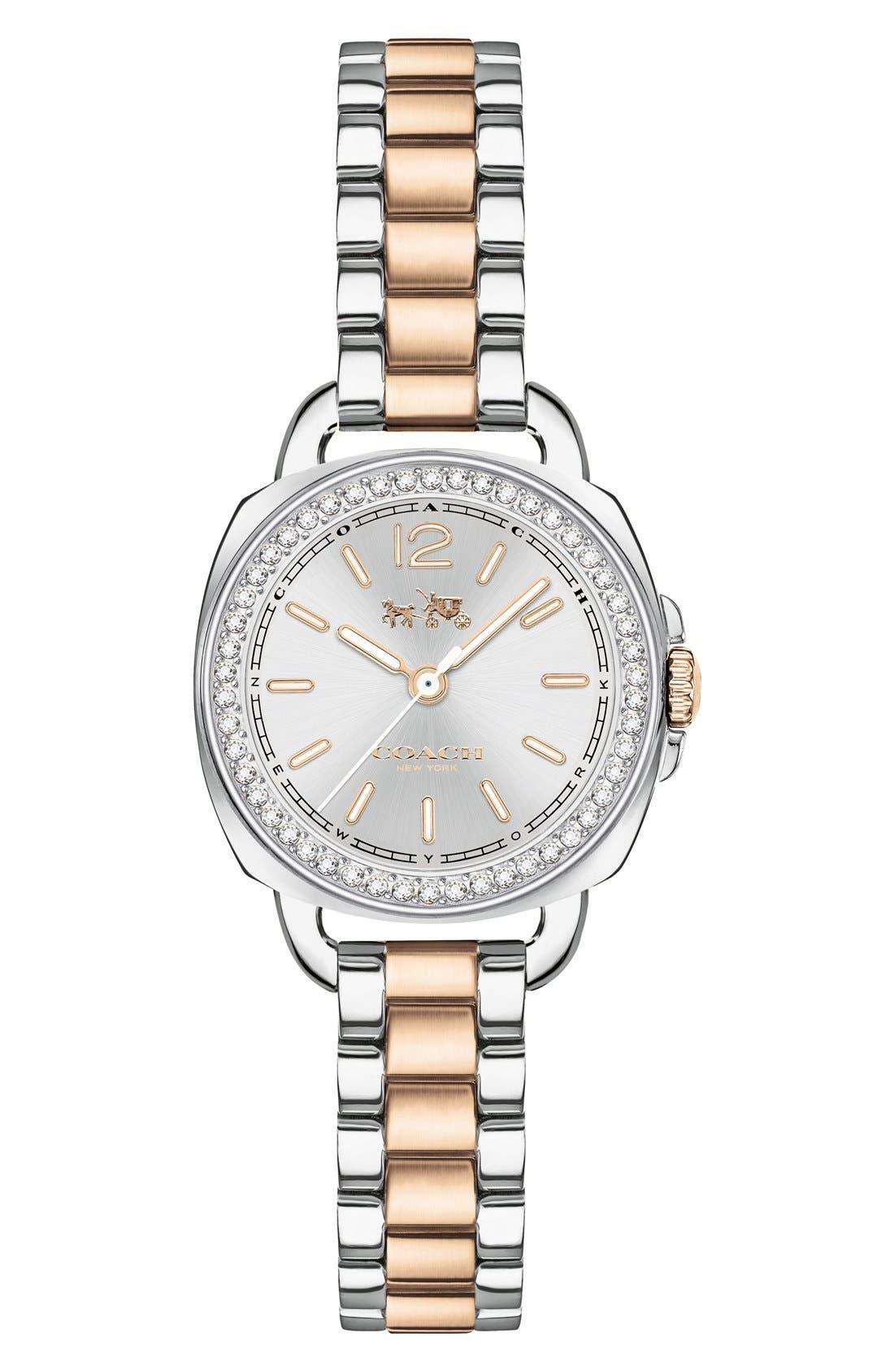 'Tatum' Crystal Bezel Bracelet Watch, 24mm,                         Main,                         color, Silver/ Rose Gold