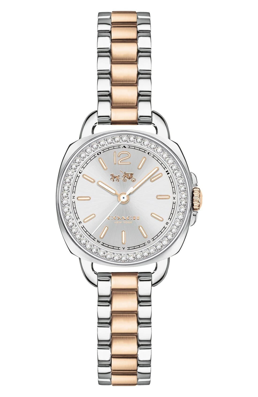 Coach 'Tatum' Crystal Bezel Bracelet Watch, 24mm