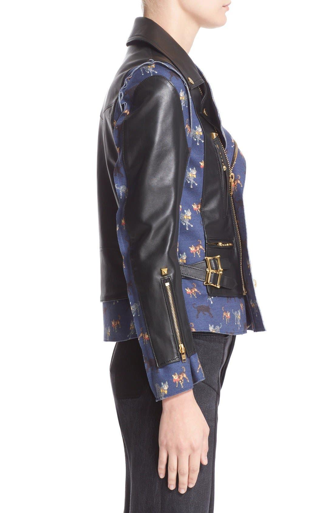 Alternate Image 5  - Undercover Leather & Wool Moto Jacket