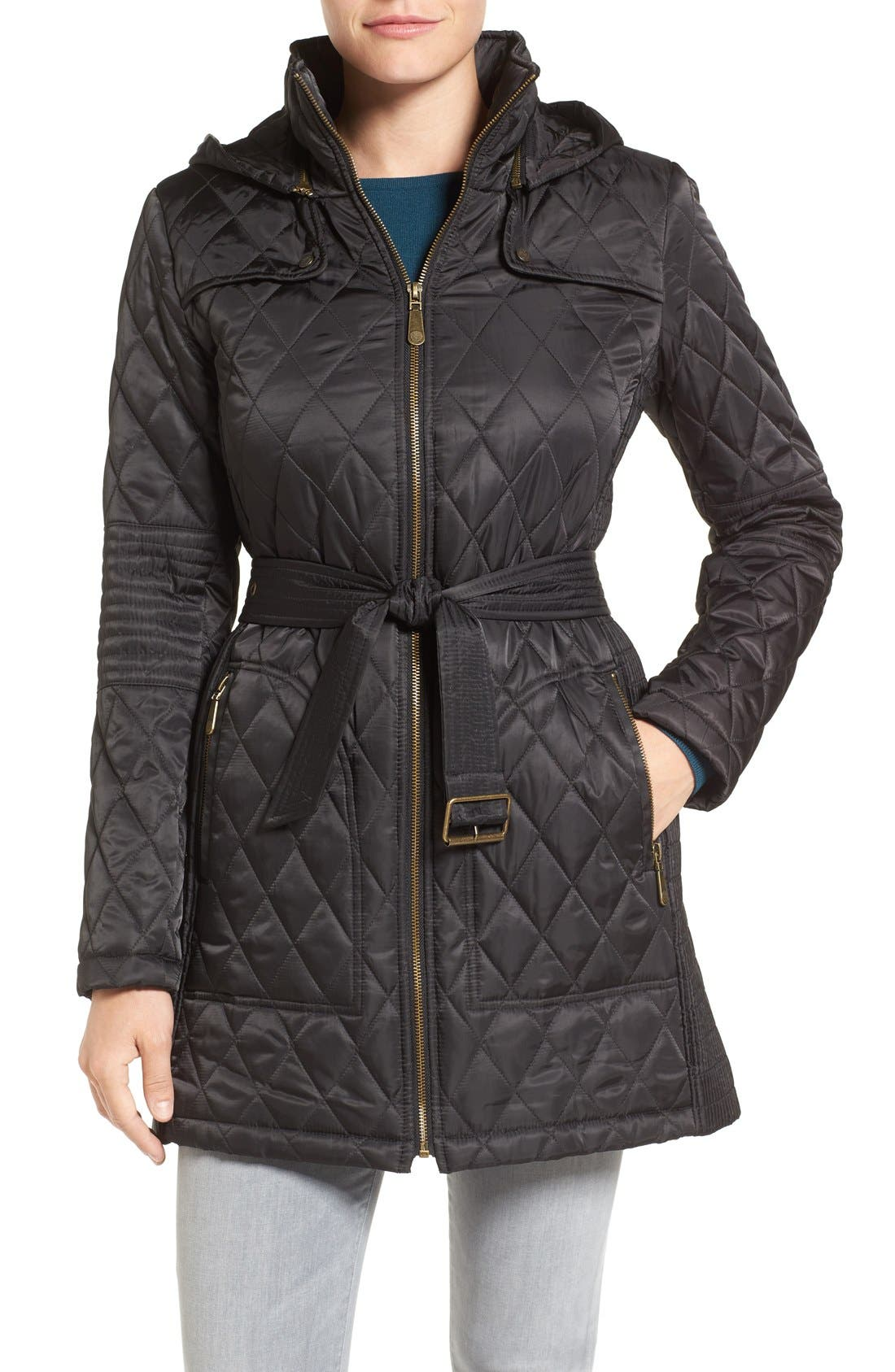 Belted Mixed Quilted Coat with Detachable Hood,                             Main thumbnail 1, color,                             Black