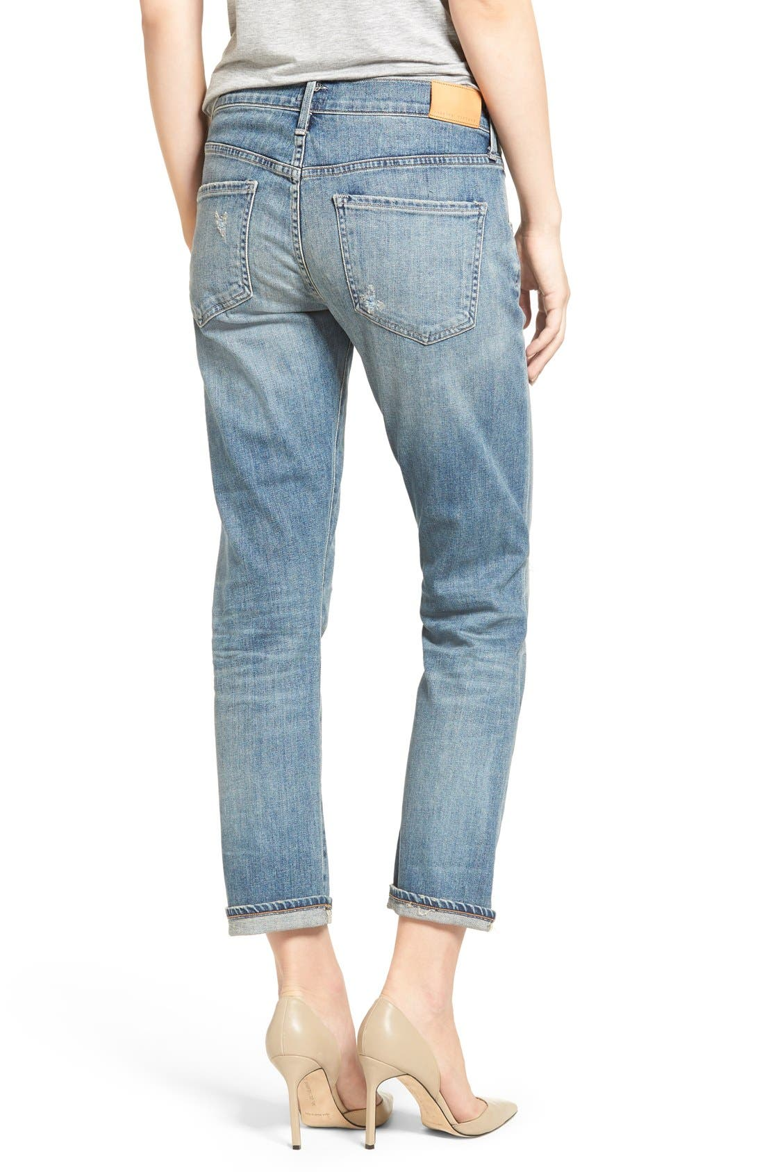 'Emerson' Ripped Slim Boyfriend Jeans,                             Alternate thumbnail 2, color,                             Roseland