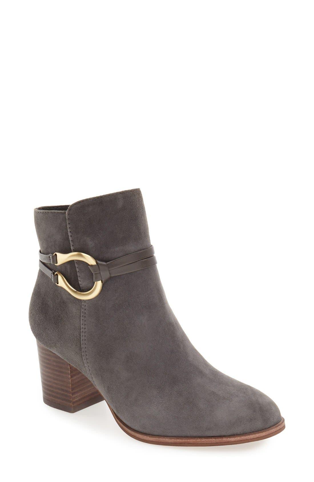 'Odell' Block Heel Bootie,                         Main,                         color, Steel Grey Suede