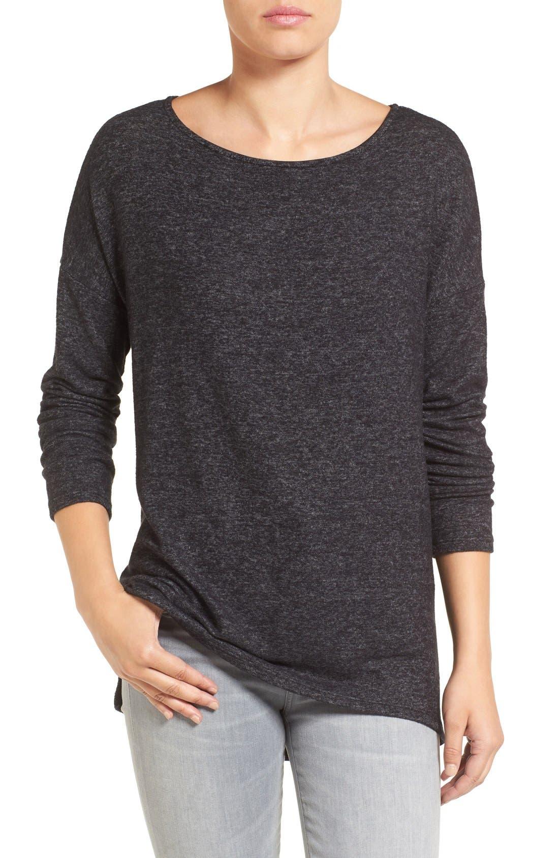 Cozy Ballet Neck High/Low Pullover,                         Main,                         color, Heather Black