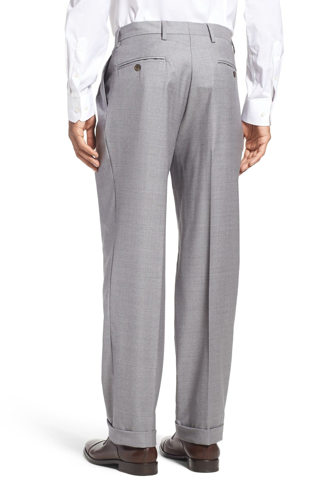 Pleated Solid Wool Trousers,                             Alternate thumbnail 3, color,                             Light Grey