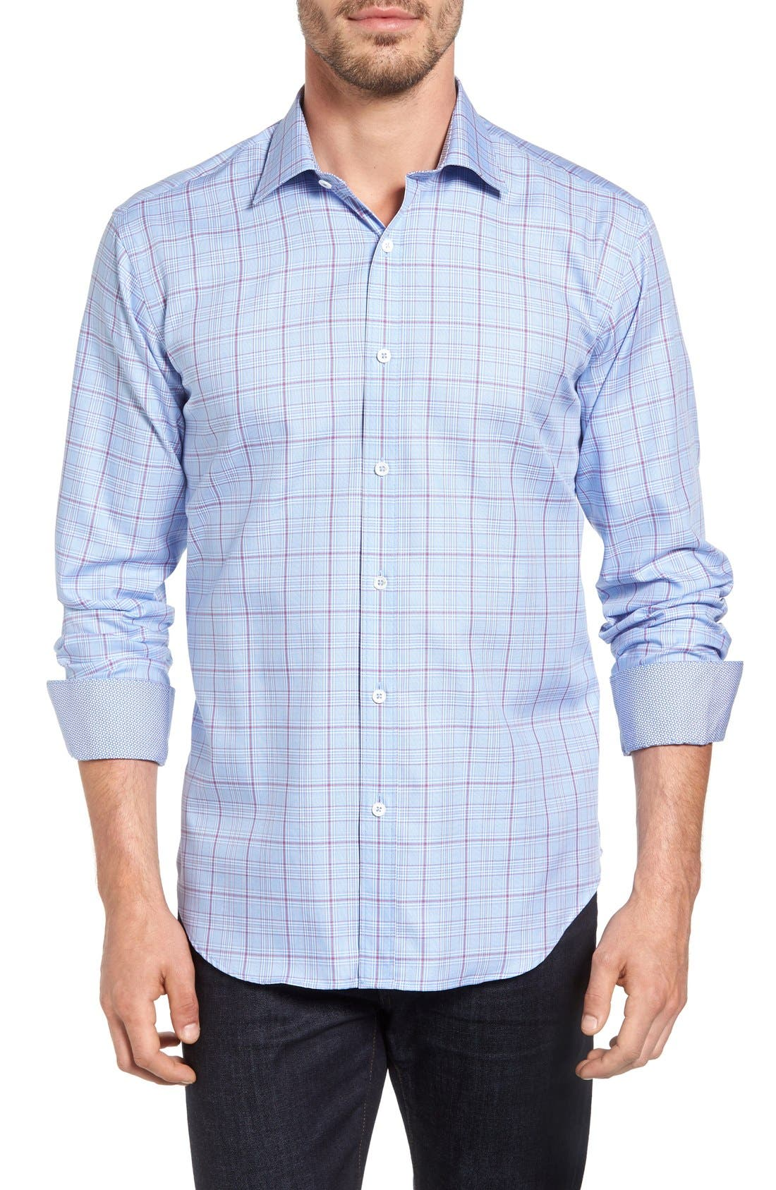 Alternate Image 1 Selected - Bugatchi Shaped Fit Check Sport Shirt