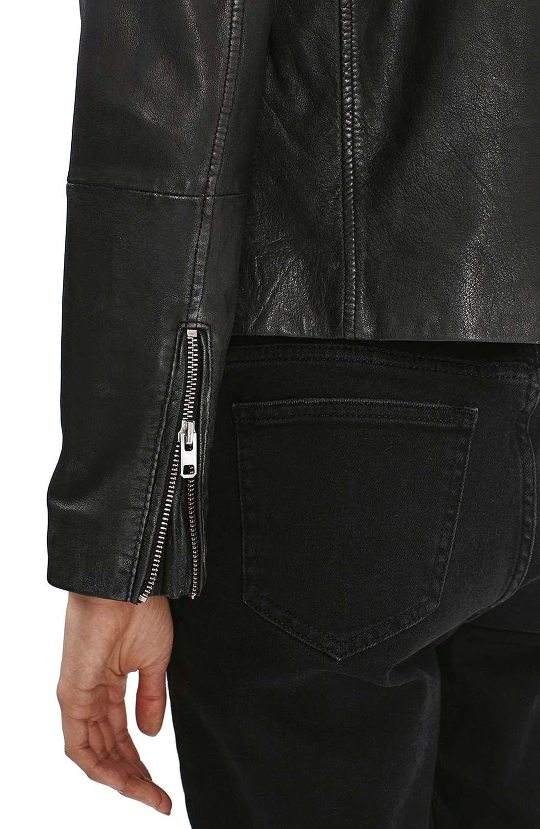 Alternate Image 6  - Topshop Lightning Leather Biker Jacket