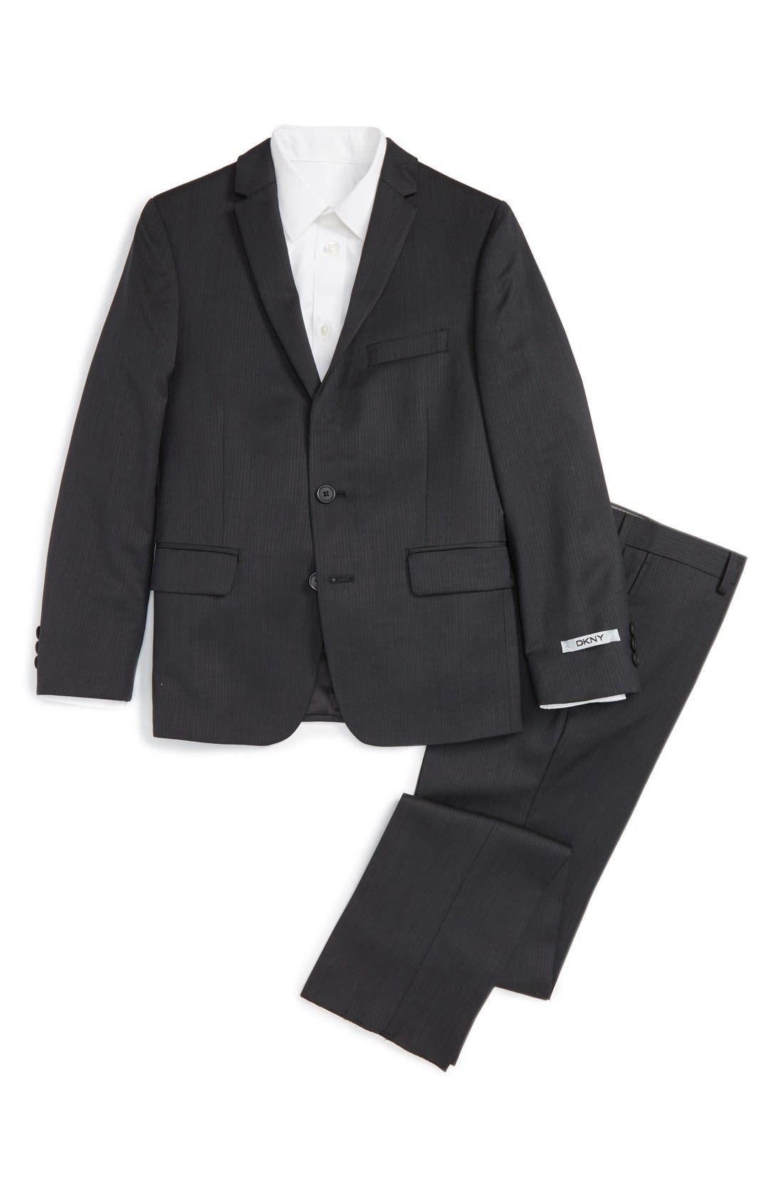 Alternate Image 1 Selected - DKNY Neat Wool Suit (Big Boys)