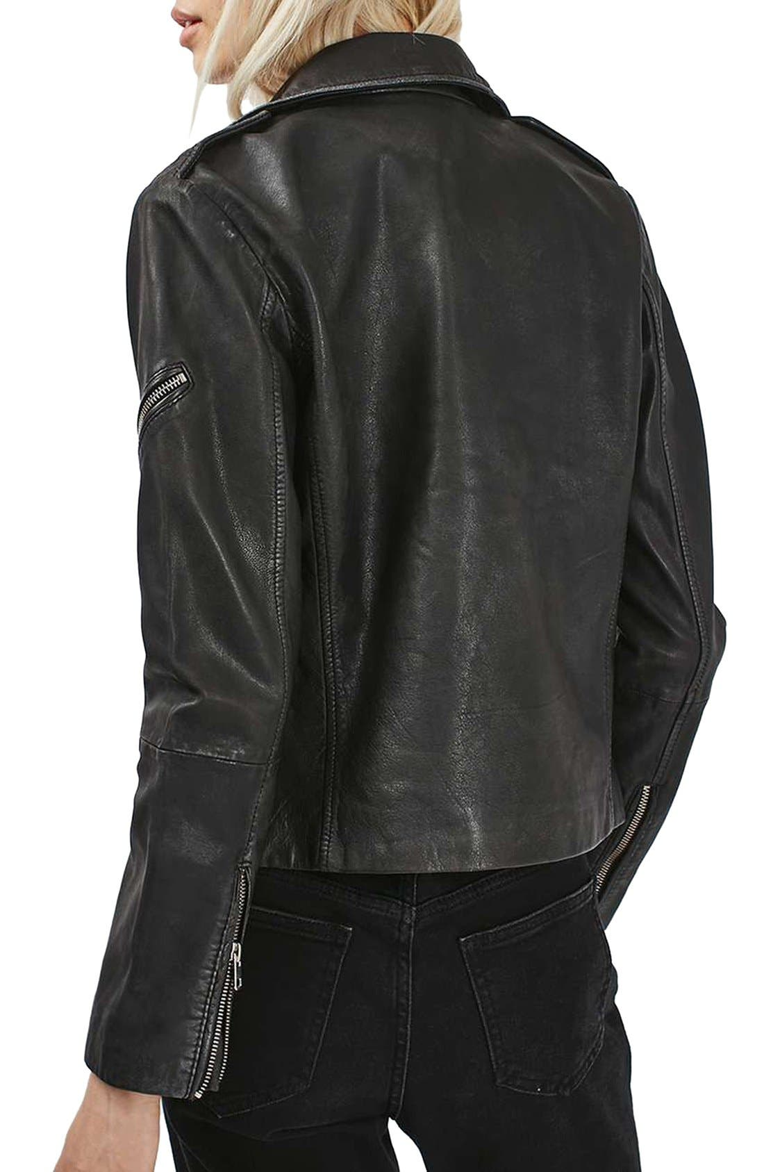 Alternate Image 3  - Topshop Lightning Leather Biker Jacket