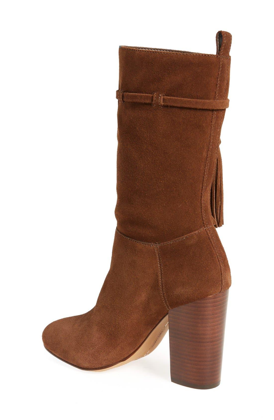 'Fermel' Slouch Tassel Boot,                             Alternate thumbnail 2, color,                             Brown Suede