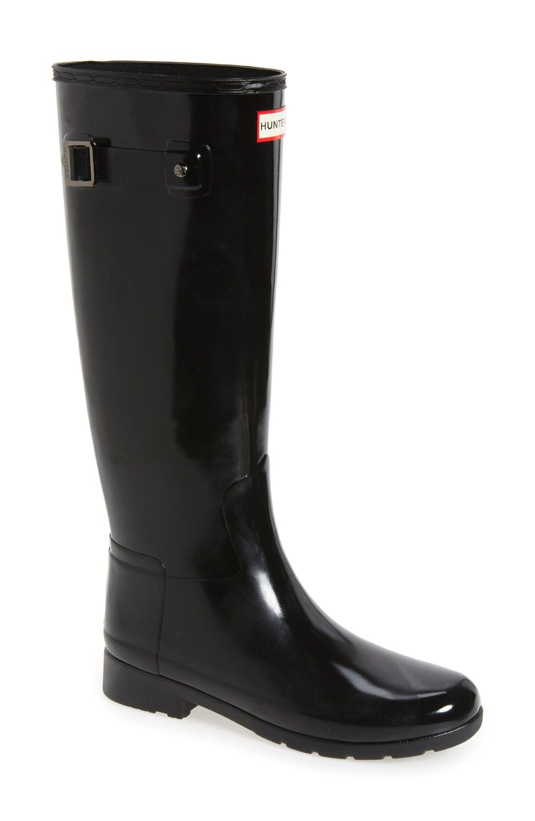 'Original Refined' High Gloss Rain Boot,                             Main thumbnail 1, color,                             Black