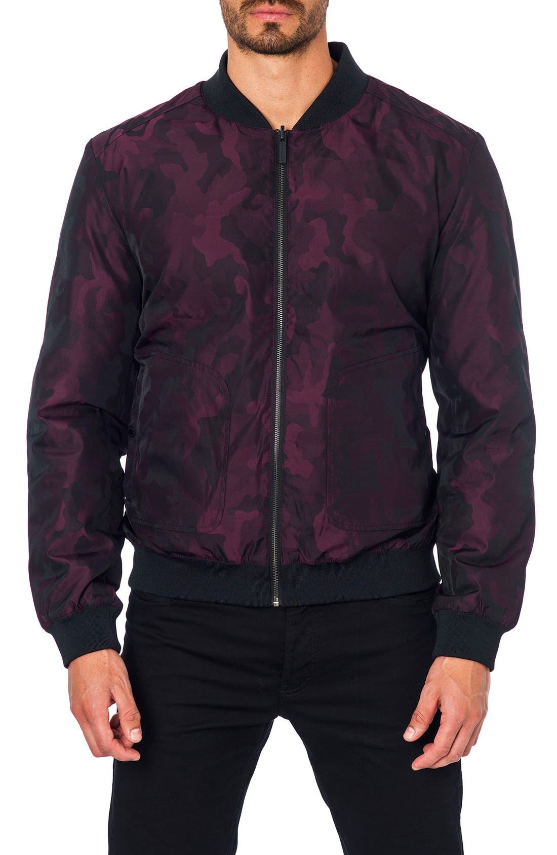 New York Reversible Bomber Jacket,                             Main thumbnail 1, color,                             Burgundy Camo/ Black Quilted