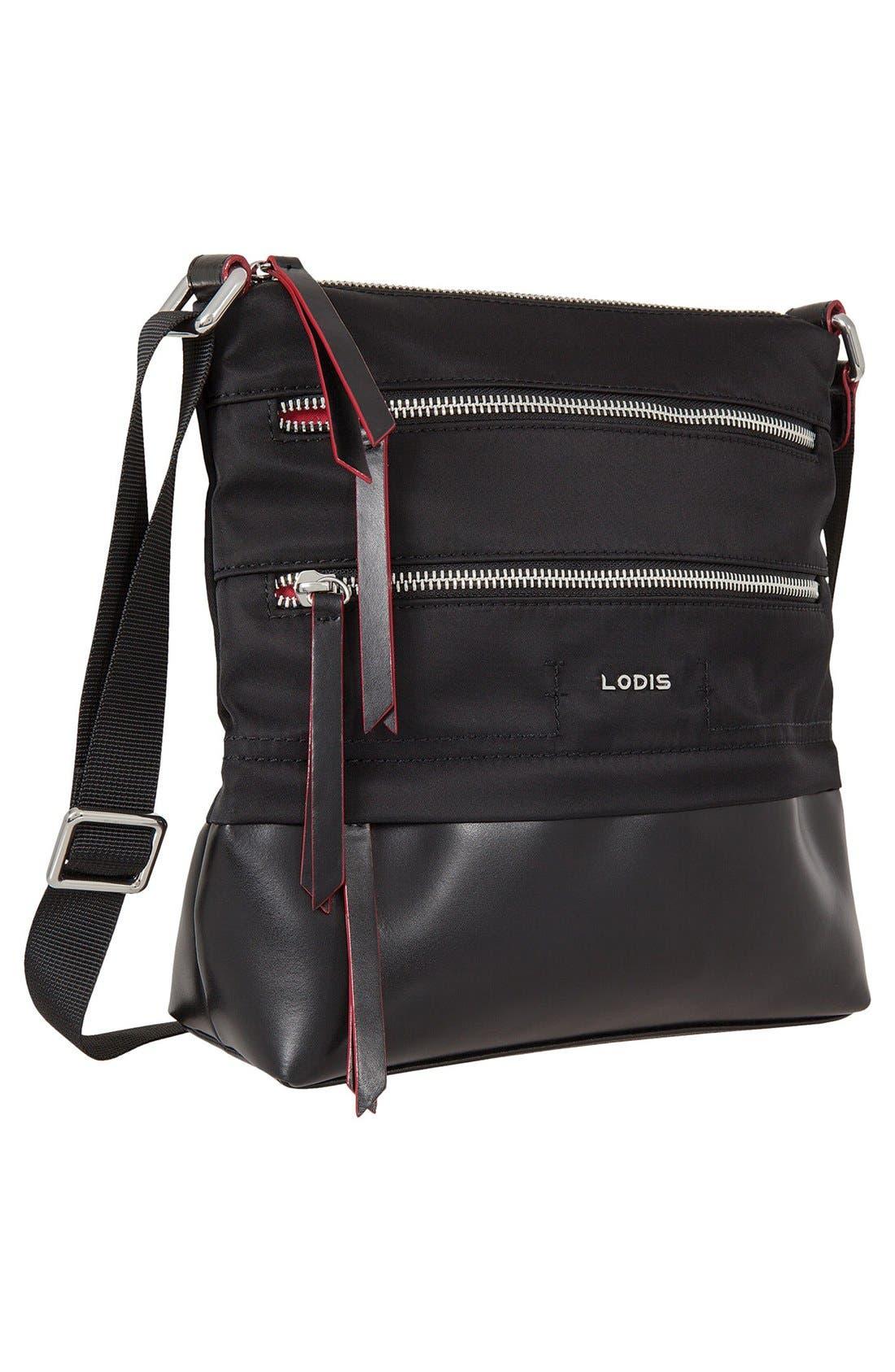 Wanda RFID Nylon & Leather Crossbody Bag,                             Alternate thumbnail 4, color,                             Black