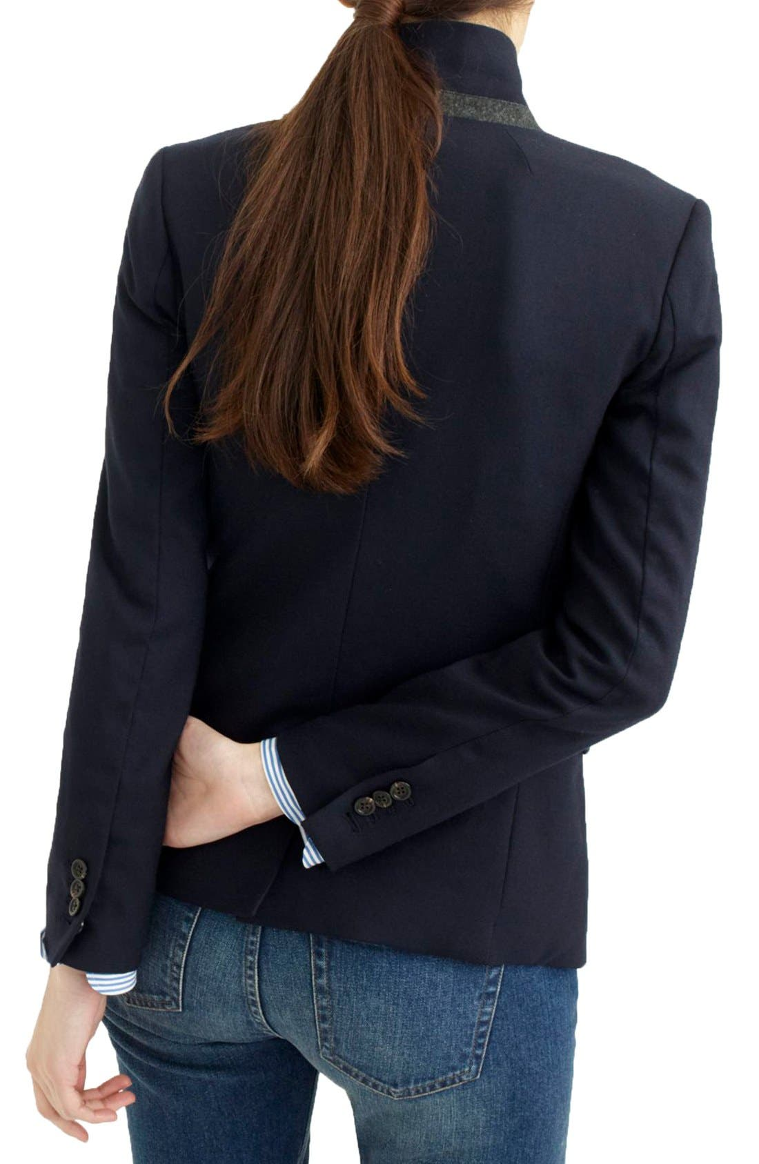 Regent Stand Collar Blazer,                             Alternate thumbnail 4, color,                             Navy