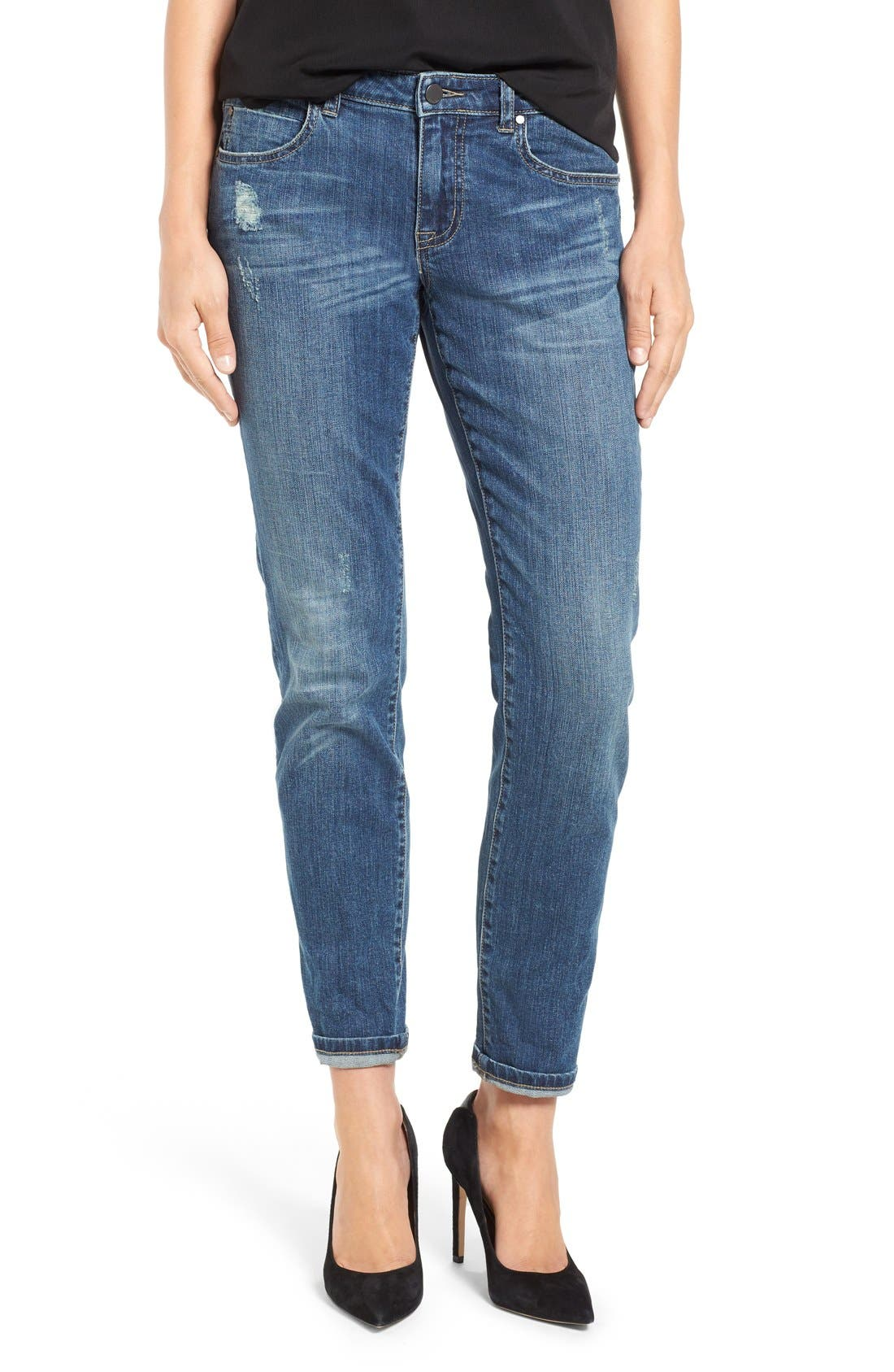 Alternate Image 1 Selected - Caslon® Distressed Boyfriend Jeans (Indigo Tide)