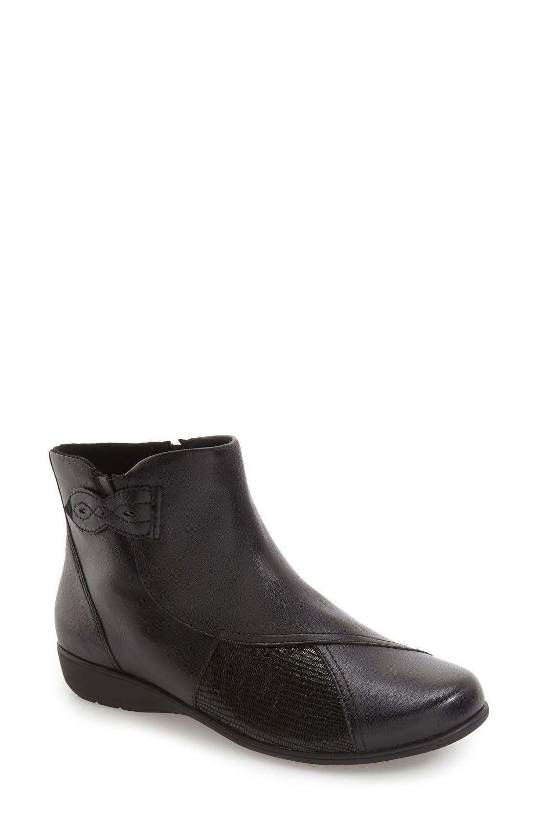 'Anstice' Wedge Bootie,                             Main thumbnail 1, color,                             Black Leather