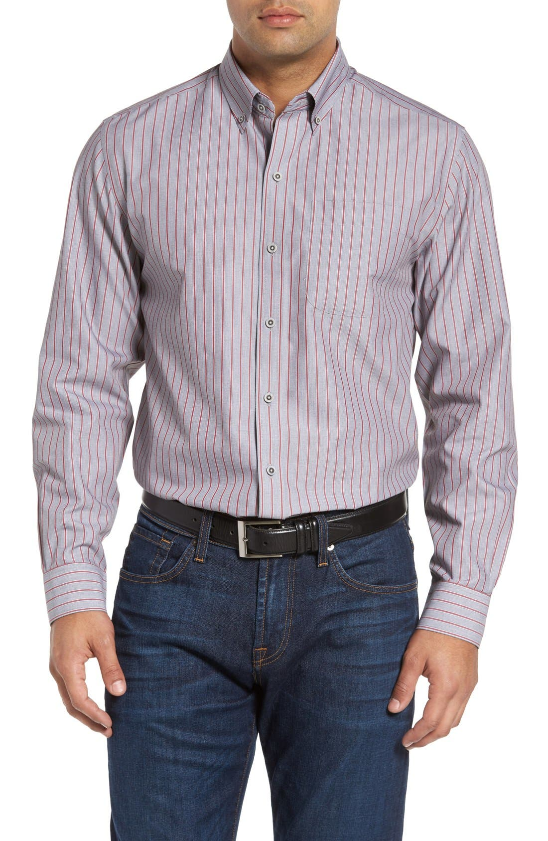 'Peak' Classic Fit Wrinkle Free Stripe Sport Shirt,                         Main,                         color, Multi/ Grey