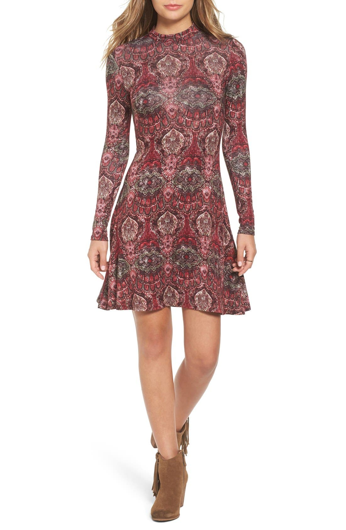 Main Image - BP. Print Mock Neck Dress