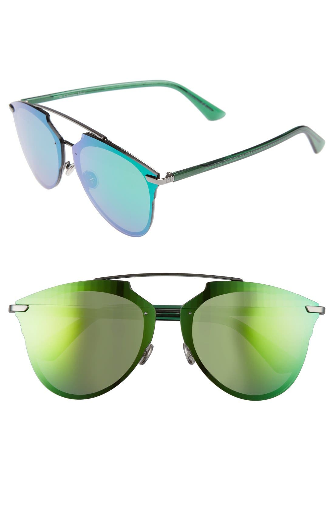 Reflected Prism 63mm Oversize Mirrored Brow Bar Sunglasses,                             Main thumbnail 1, color,                             Dark Ruthenium/ Green