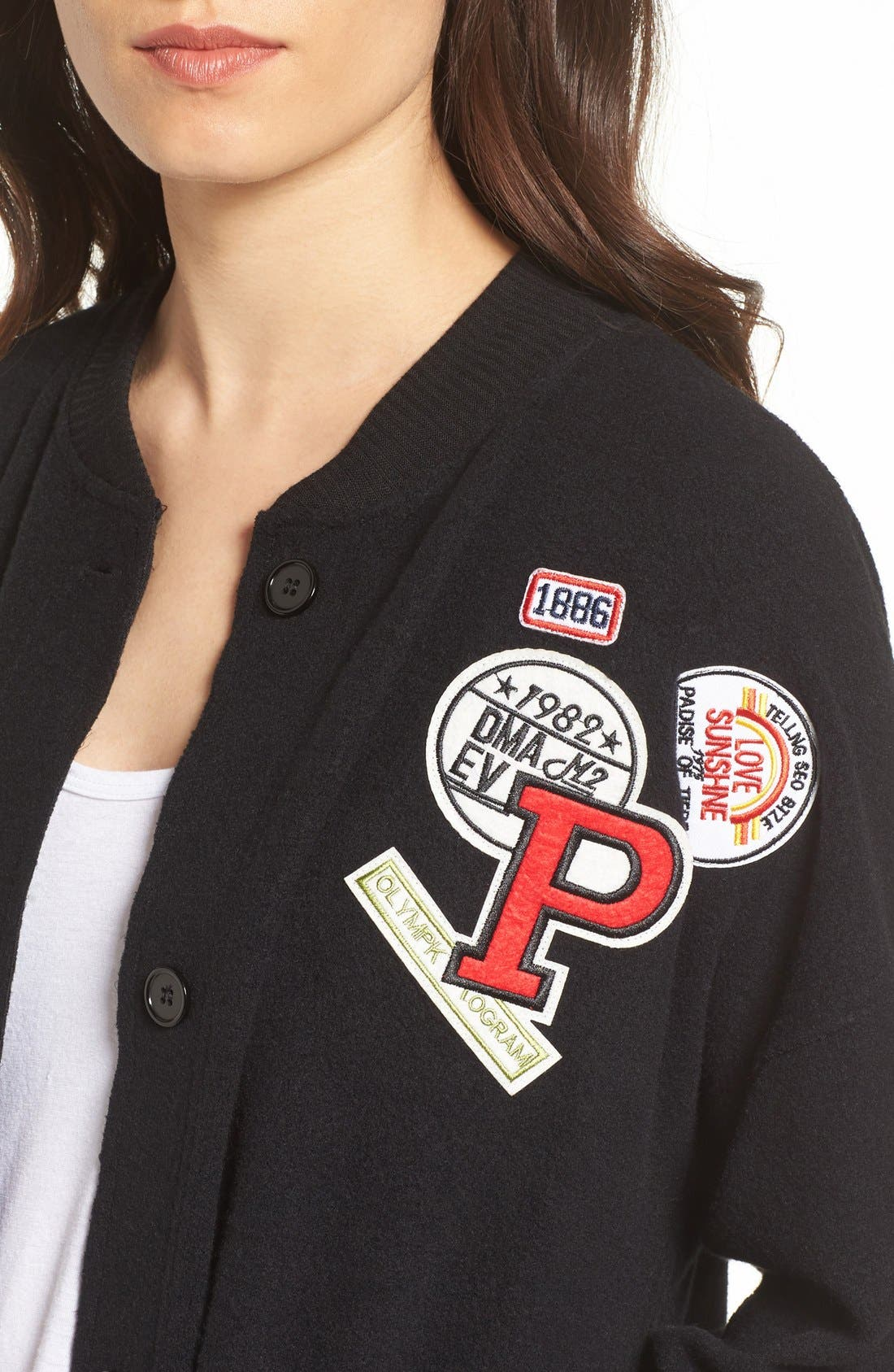 Alternate Image 4  - Chloe & Katie Varsity Patch Cardigan