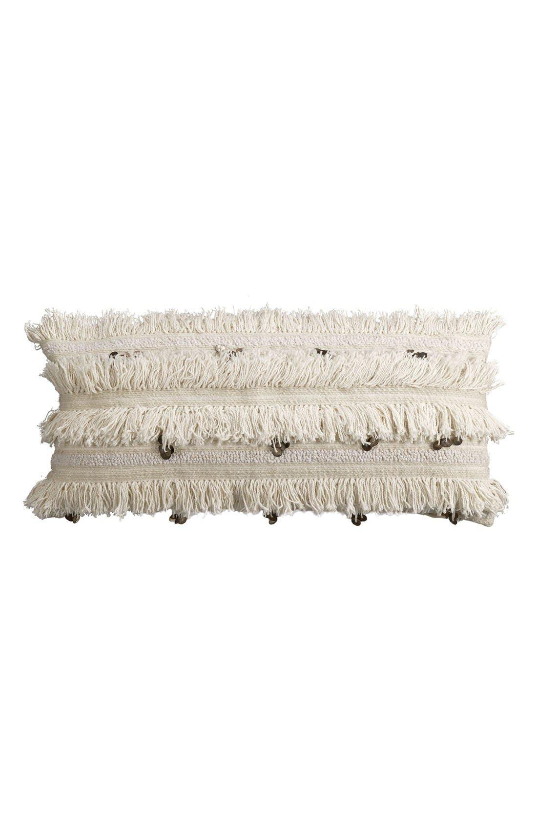 Fringe Sequin Accent Pillow,                             Main thumbnail 1, color,                             Ivory