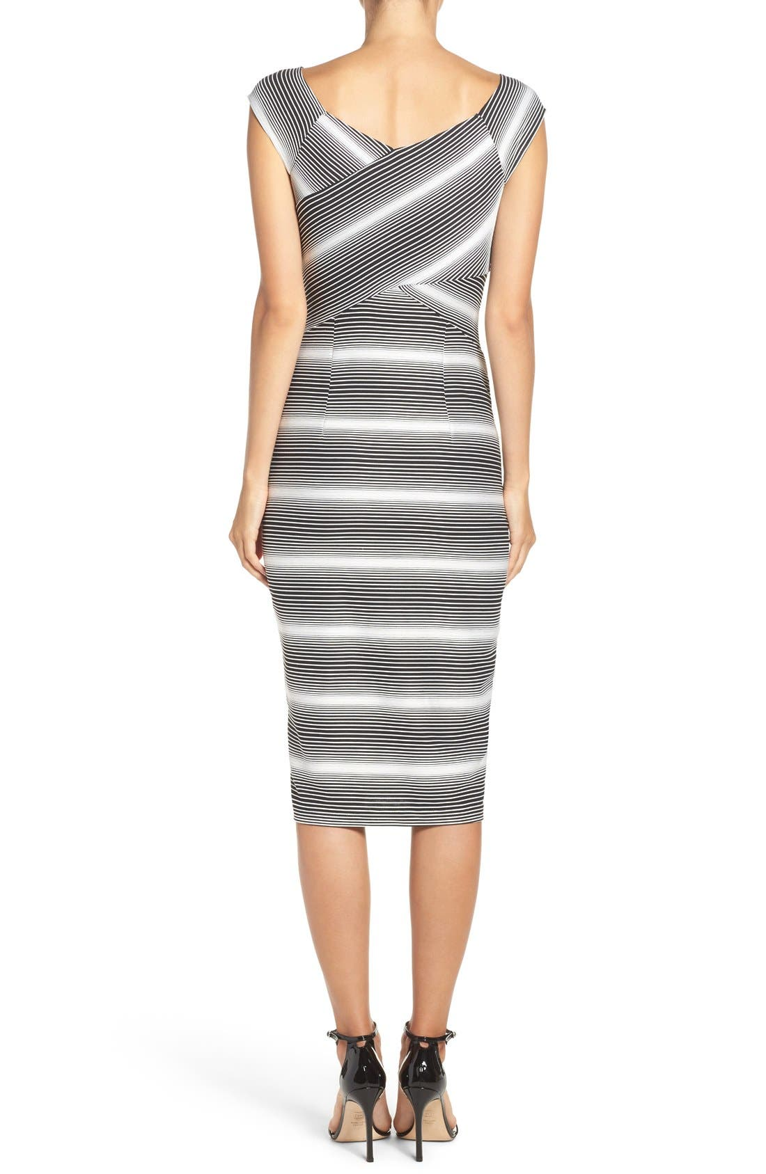 Stripe Jersey Sheath Dress,                             Alternate thumbnail 2, color,                             Black/ White