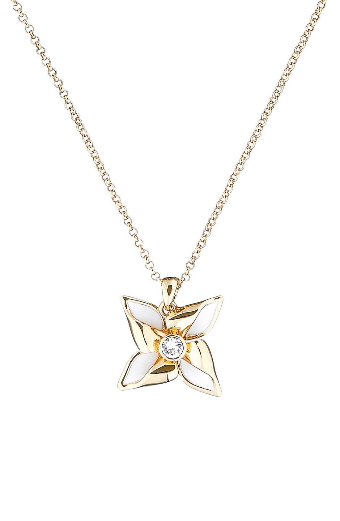 Kineta Pendant Necklace,                             Alternate thumbnail 2, color,                             Gold/ White