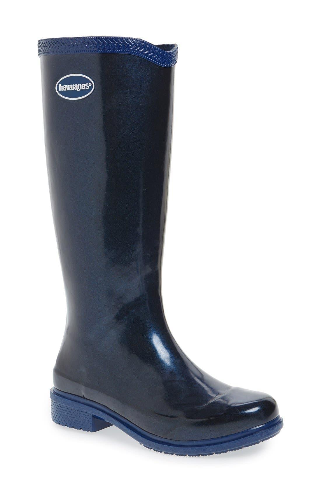 'Galochas Hi Metallic' Waterproof Rain Boot,                             Main thumbnail 1, color,                             Navy Blue Metallic