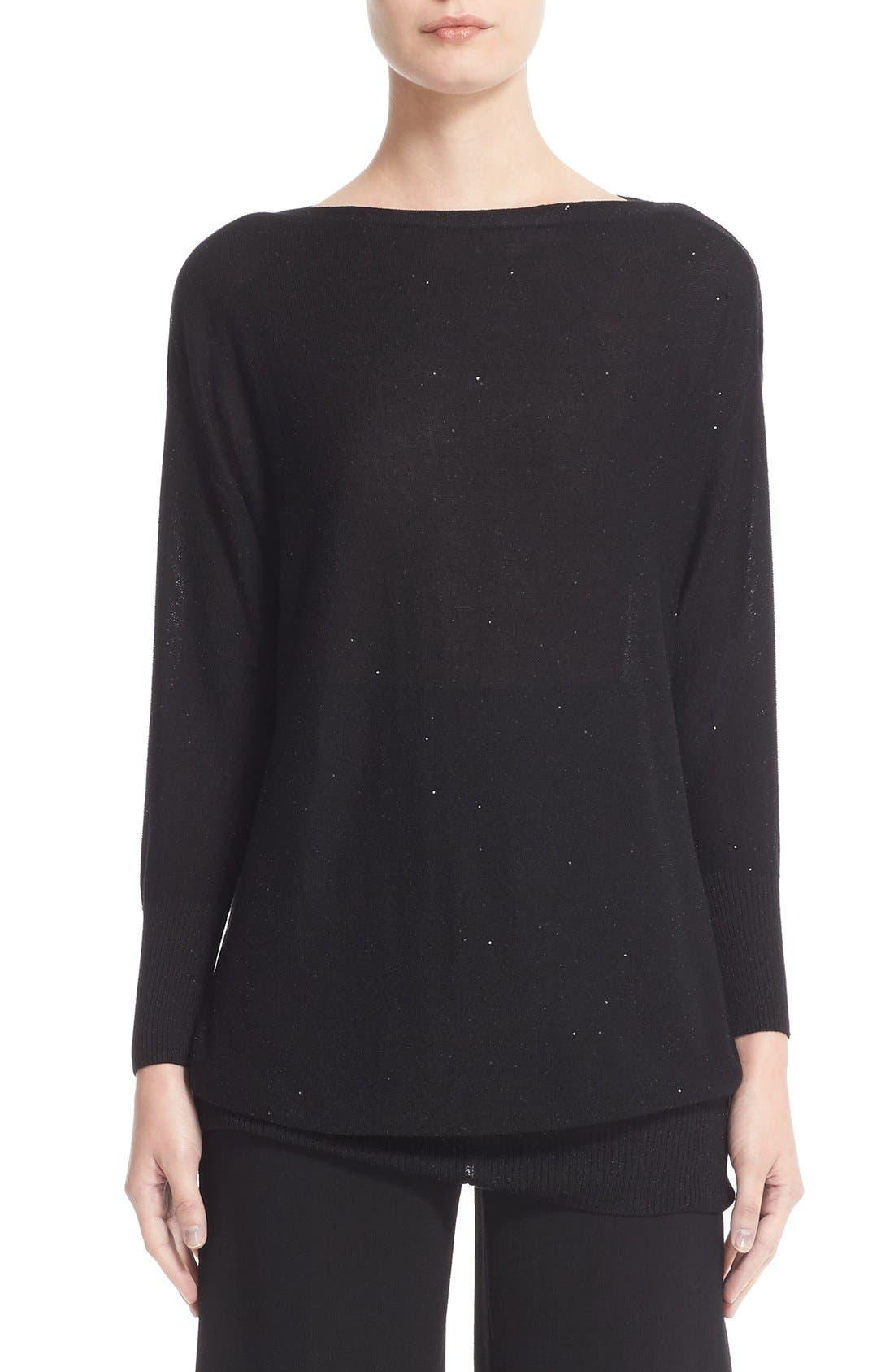 Sequin Knit Silk Blend Sweater,                         Main,                         color, Black