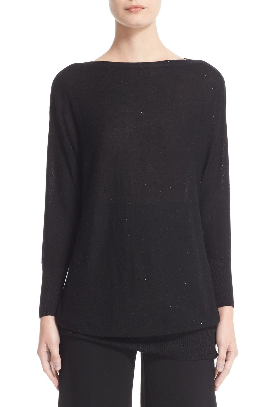 Lela Rose Sequin Knit Silk Blend Sweater