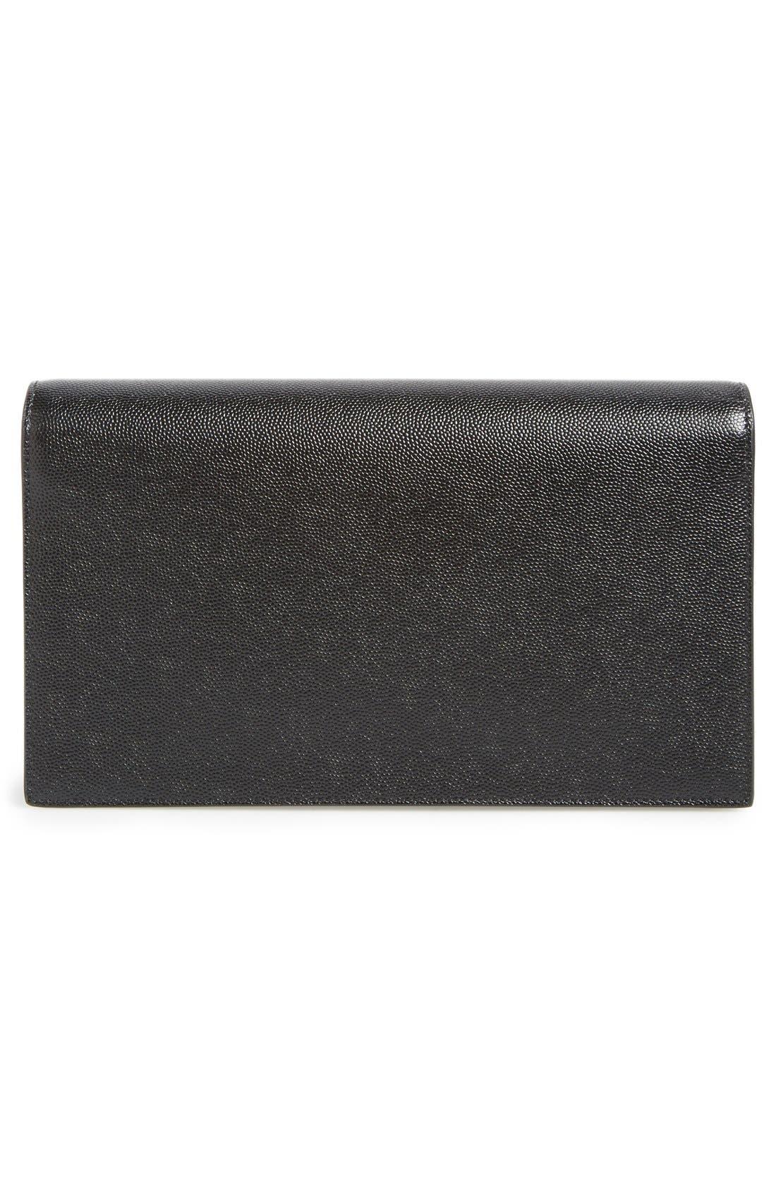 'Monogram' Leather Clutch,                             Alternate thumbnail 3, color,                             Noir