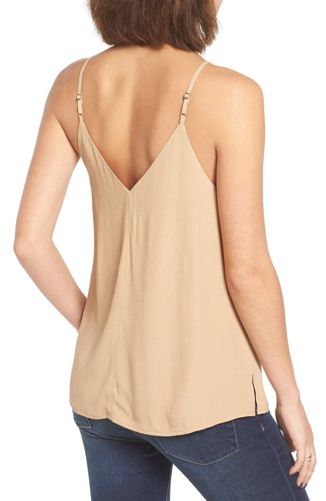 Double V Camisole,                             Alternate thumbnail 2, color,                             Tan Toffee