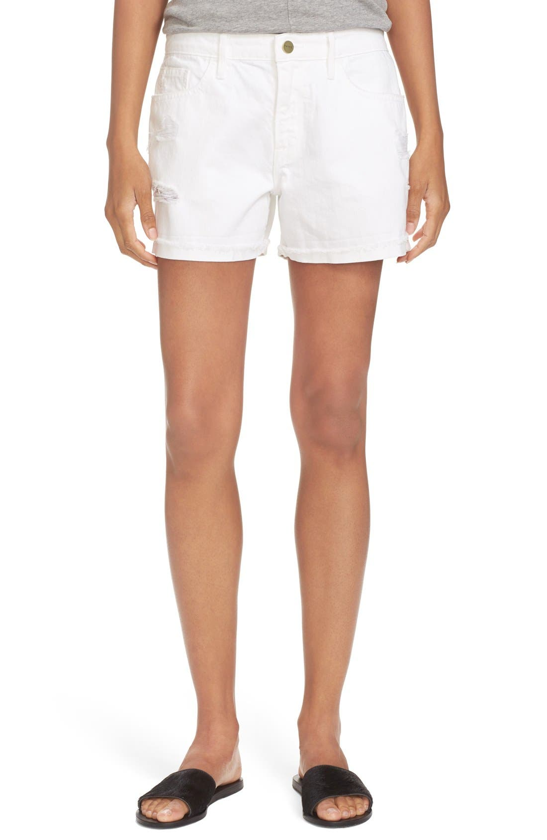 FRAME Distressed Denim Shorts (Blanc)