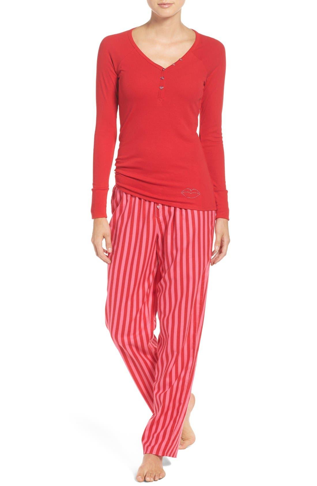 Alternate Image 1 Selected - Betsey Johnson Flannel Pajamas