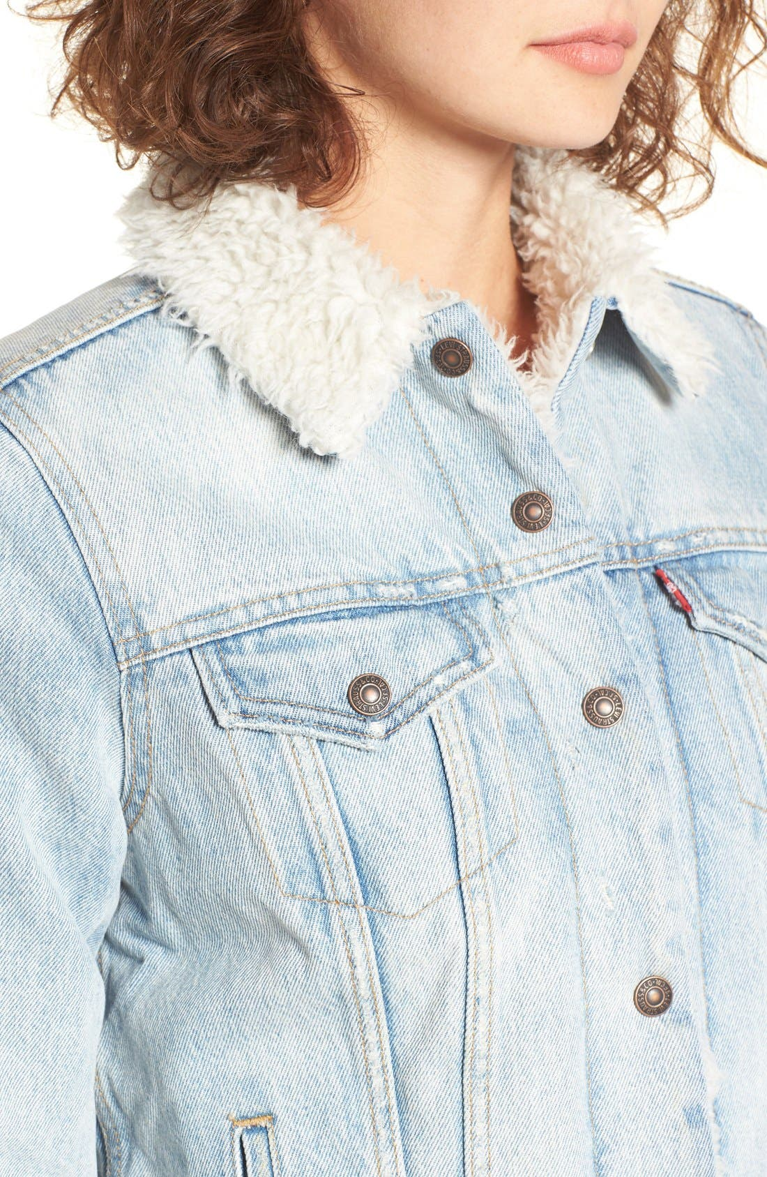 Alternate Image 4  - Levi's® Trucker Jacket with Faux Fur Trim (East Alley)