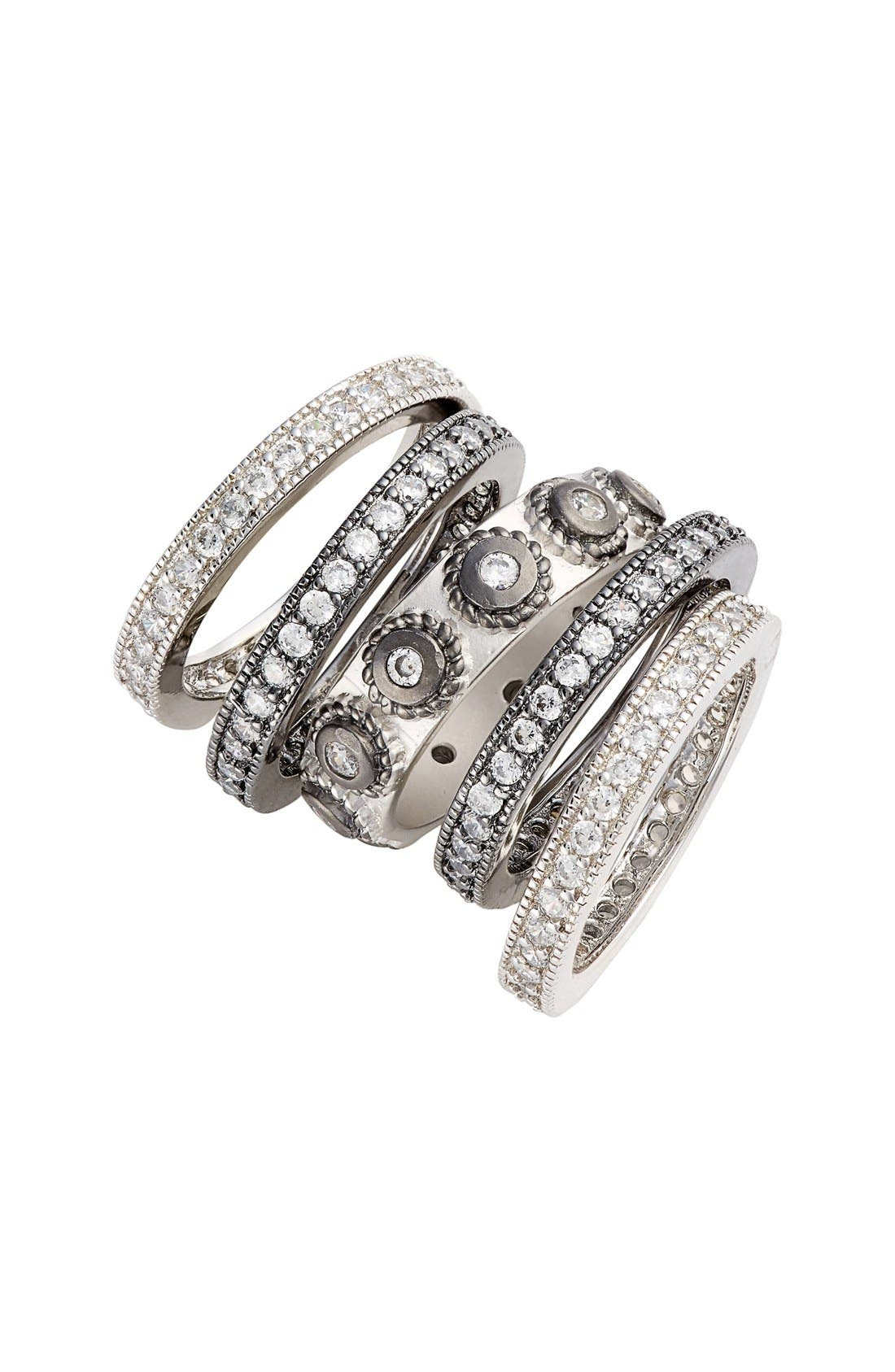 'Contemporary Deco' Stacking Rings,                             Main thumbnail 1, color,                             Silver/ Black