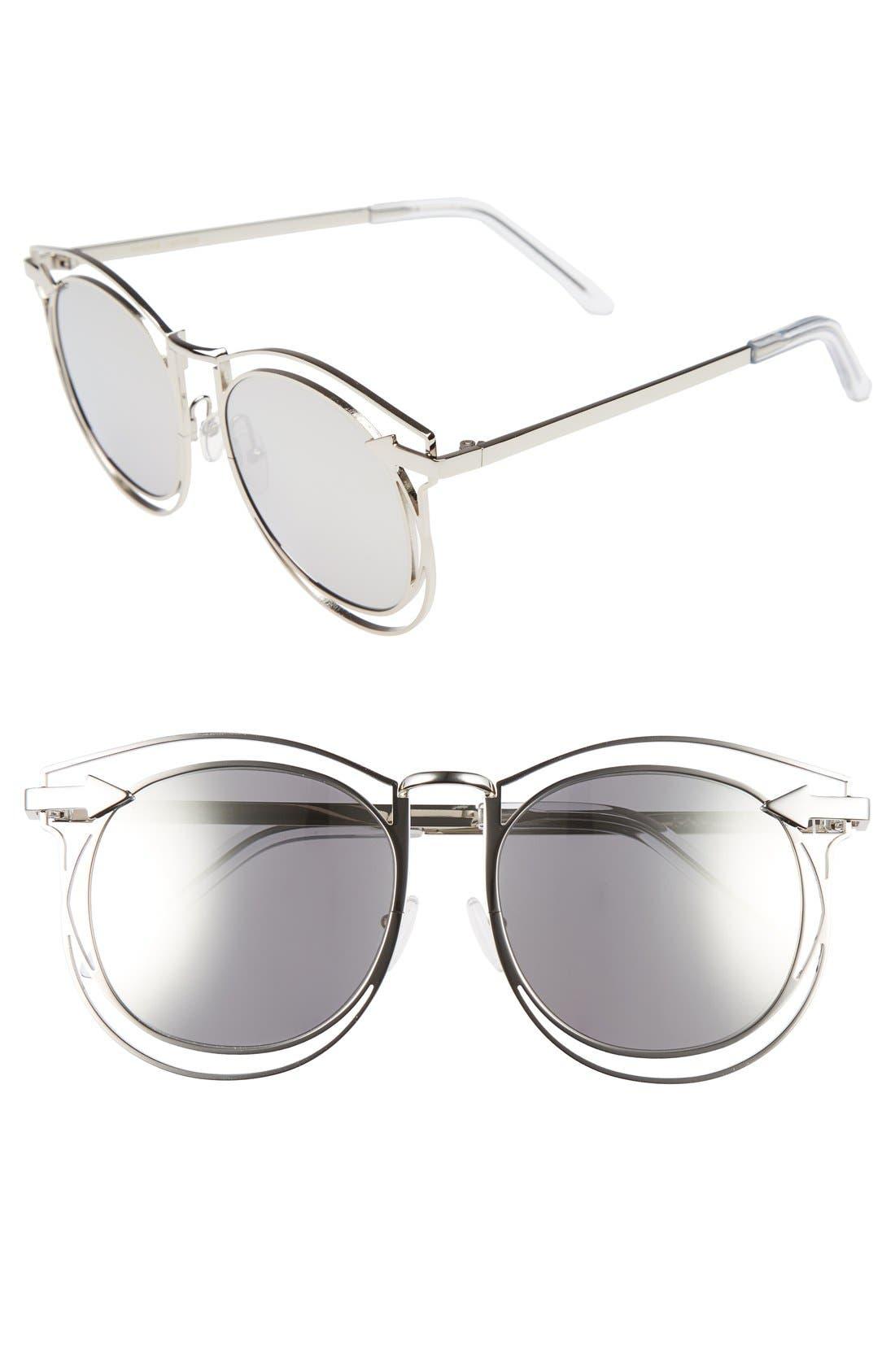 'Simone' 54mm Retro Sunglasses,                         Main,                         color, Silver/ Clear
