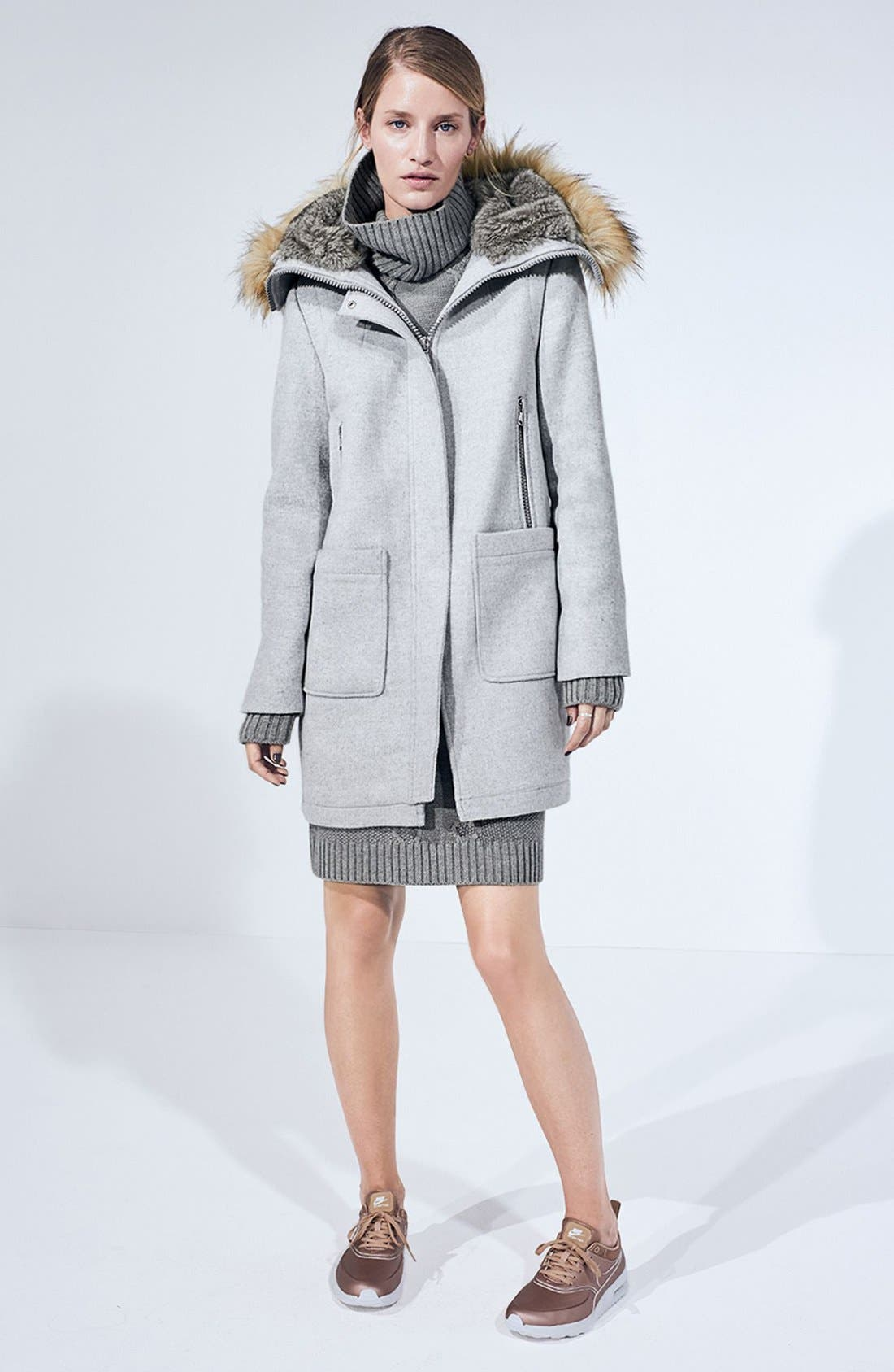 Alternate Image 5  - Vince Camuto Wool Blend Duffle Coat with Faux Fur Trim Hood