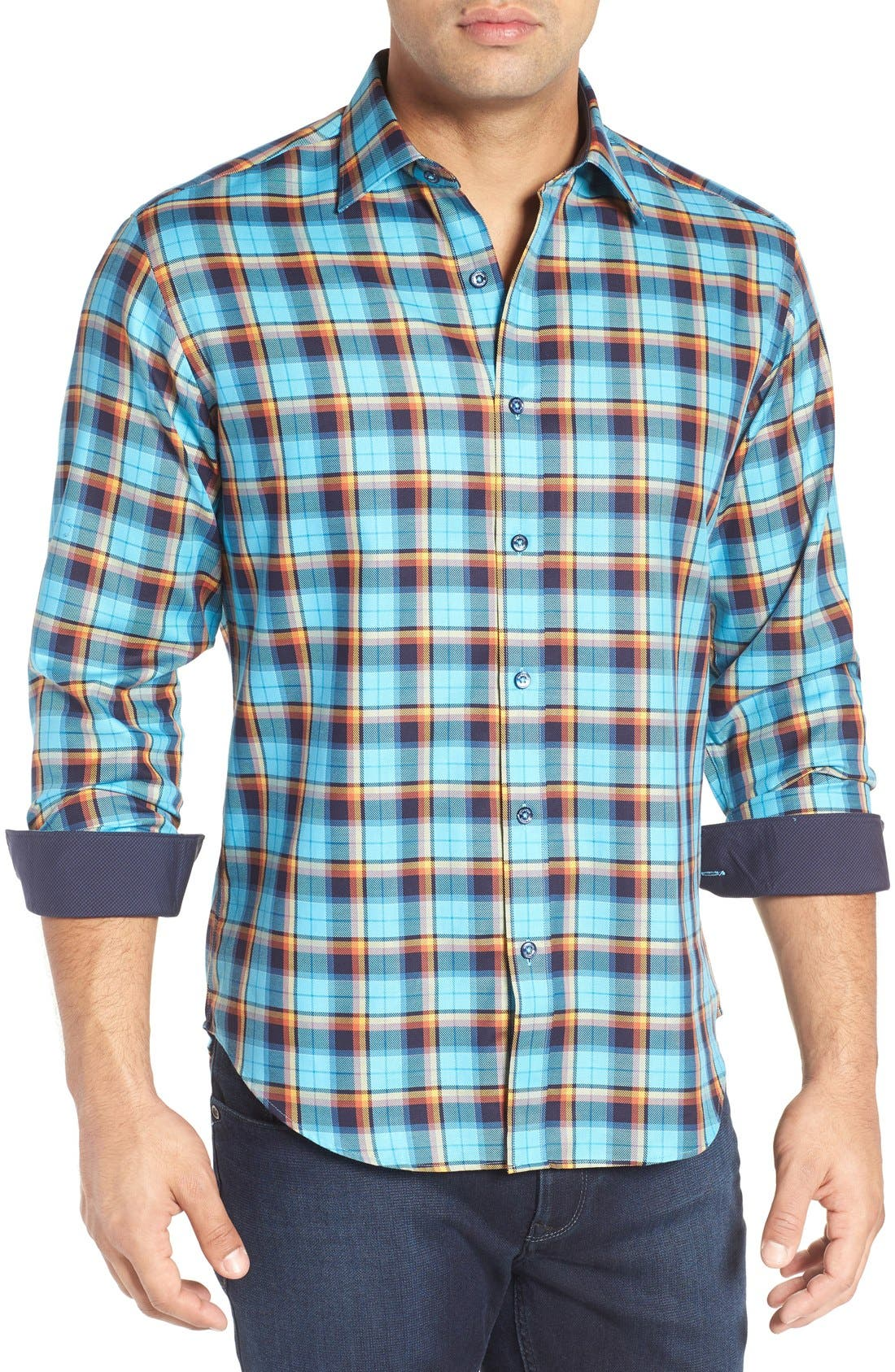 Shaped Fit Plaid Sport Shirt,                         Main,                         color, Turquoise